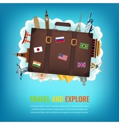 Travel composition with suitcase and famous world vector