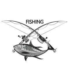 tuna and fishing rod symbol vector image