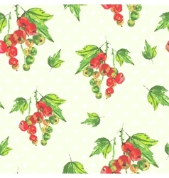 watercolor seamless background with red currants vector image