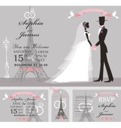 Wedding invitation setRetro BridegroomEiffel vector image