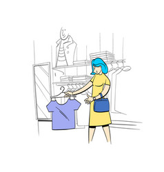 Woman chooses clothes in a store comics cartoon vector