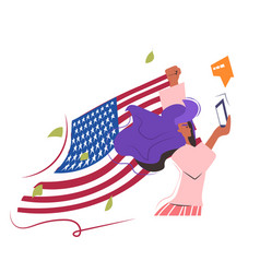 woman protester with flag using smartphone vector image