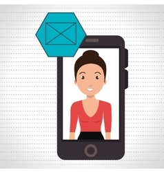 woman smartphone applications email vector image