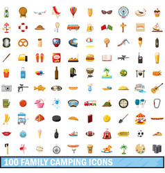 100 family camping icons set cartoon style vector