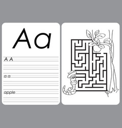alphabet a-z - puzzle worksheet - coloring book vector image vector image