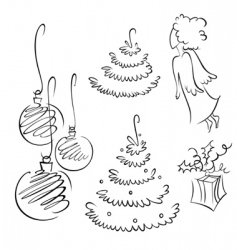 Christmas contour set vector image vector image