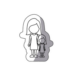 contour woman with her daughter icon vector image vector image