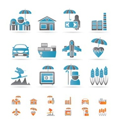 different kind of insurance and risk icons vector image vector image