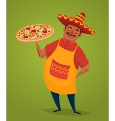 Mexican chef with pizza cartoon character vector image