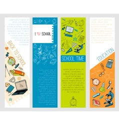School education icons infographic banners vector
