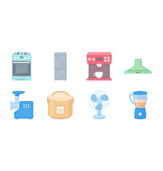 types of household appliances icons in set vector image