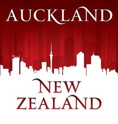 Auckland New Zealand city skyline silhouette vector image