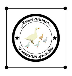 logos and badges farm animals geese vector image