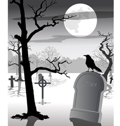 Old Graveyard with Crow vector image
