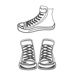 sneakers silhouette set vector image