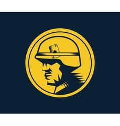 soldier mascot label vector image