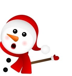 Surprised Snowman on a white background looks vector image
