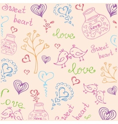 background with different cute animals and objects vector image vector image
