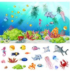 Cartoon sea and ocean life concept vector