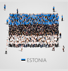 large group of people in the shape of estonian vector image