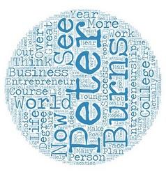 Peter burns entrepreneur text background wordcloud vector