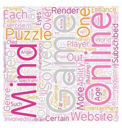 Puzzle Your Mind With Flash Games text background vector image vector image