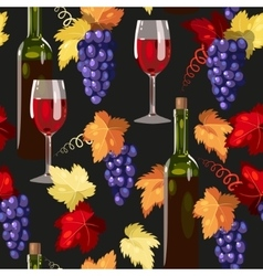 Seamless wine and grape vector image