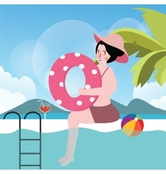 woman in pool with ball summer vacation swimming vector image vector image