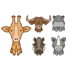 cartoon zoo animals set vector image vector image