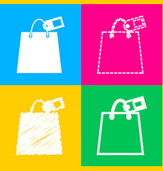 shopping bag sign with tag four styles of icon on vector image vector image