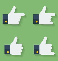 Thumbs up icon set Flat style vector image