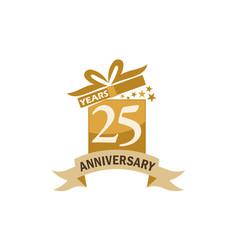 25 years gift box ribbon anniversary vector