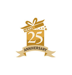 25 years gift box ribbon anniversary vector image