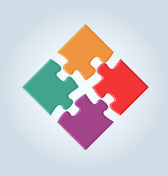 4 vivid colorful puzzle pieces vector image