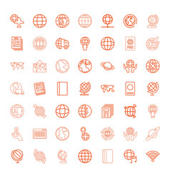 49 world icons vector image