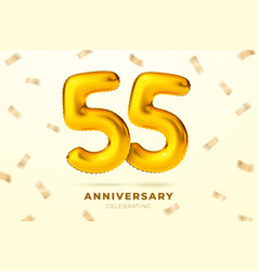 anniversary golden balloons number 55 vector image