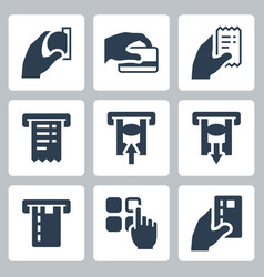 Atm terminal icon set in glyph style vector