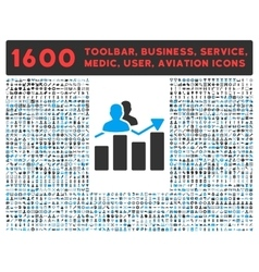 Audience Graph Icon with Large Pictogram vector image vector image