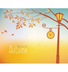 Autumn landscape with trees and clock lamp post vector