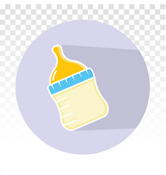 Baby milk bottle flat icon for apps and websites vector