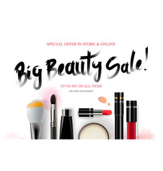 big beauty sale cosmetics banner for shopping vector image