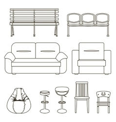 Black and white set of seats vector
