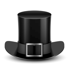 Black Top Hat With Metallic Buckle vector image