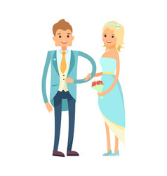 bride and groom in good mood vector image