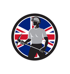 british coal miner union jack flag icon vector image