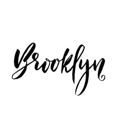 Brooklyn usa typography dry brush lettering vector