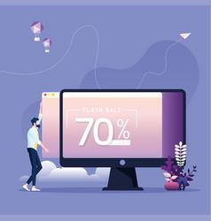 businessman uploading sale banner vector image