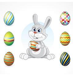 cartoon bunny with eggs set vector image