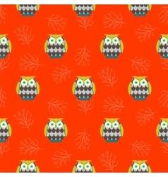 Cartoon owls orange red seamless pattern vector image