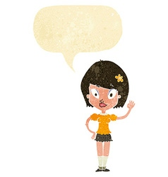 Cartoon pretty girl waving with speech bubble vector